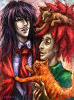 Alucard, Sideshow Bob and kitties by jesterry