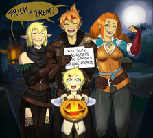 [Commission] Trick or Treat? by RiikoChick