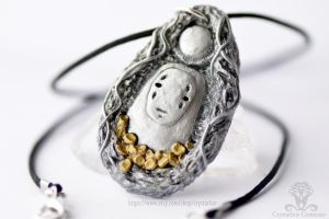 No Face Spirited Away Necklace | Crystarbor by Crystarbor