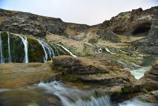 Iceland Rock and Waterfalls Stock by little-spacey