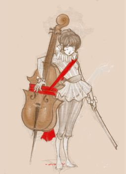 the cello thief WIP by lupidog