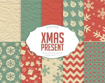 Christmas Present Digital Paper by DigiWorkshopPixels