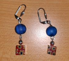blue pearl and colorful cube earrings by syn-O-nyms