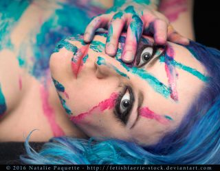 Blue and Pink Paint III by fetishfaerie-stock