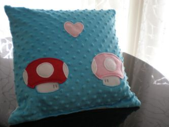 Blue Mushrooms in Love Pillow by Omonomopoeia