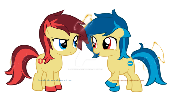 MLP FIM Request: Poke'Ponies.. Plusle and Minun~ by Lavender-Incense