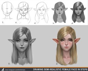 How to draw semi-realistic female face in steps by Dimikka