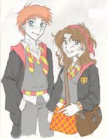 Ron and Hermione redesign by the-pink-angel