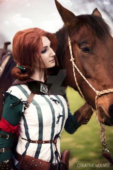 Triss and Roach cosplay by GrumpyCait