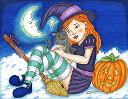 Kitty and Witch by DarkRubyMoon