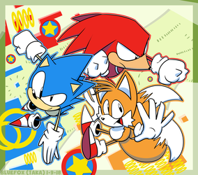 Sonic Classic Trio by TheRealBlueFox