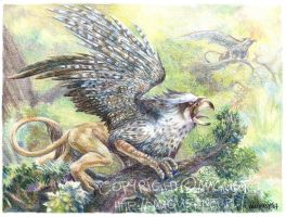 Gryphon in the Forest by AugustAnna