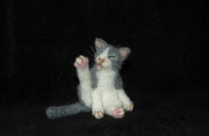 Needle felted Kitty Cat by amber-rose-creations
