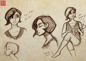 Sketches of A Friend's Gf by DominicDrawsArt