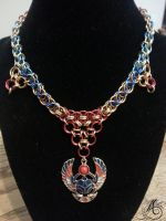 Egyptian Scarab Chainmail Necklace by JAFantasyArt