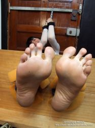 Monica's wrinkled soles in the stocks by DivaRope