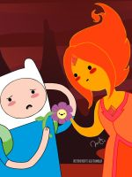 Flame Princess and Finn The Human by retro-vertigo