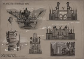 SteamBug Noir - Architecture Sketches 2 by MikeCoombsArt