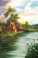 cottage by the lake by Lubna-fatiha