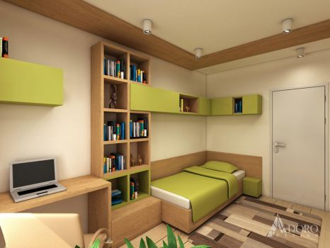 Guest Bedroom in Green and Wood by adorodesign