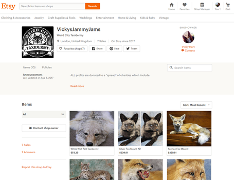 Warning: Fraudulent Seller (Scammer) on Etsy by WeirdCityTaxidermy