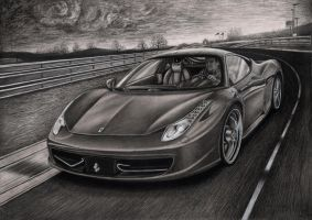 'FERRARI 458 ITALIA' Graphite drawing by Pen-Tacular-Artist