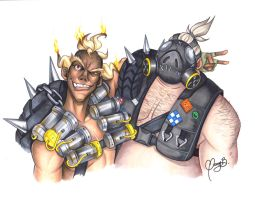 Overwatch Junkrat and Roadhog by Weirdream13