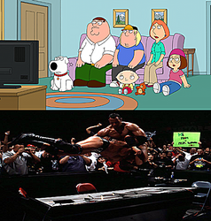 The Griffin Family watches WWF JD2K by EarWaxKid