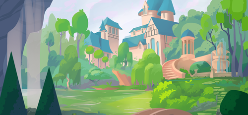 Commission: Castle garden by ApollinArt