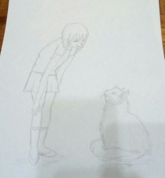 girl and cat practice by Sailorferchy