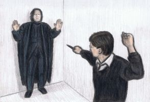 Harry Potter attacking Professor Snape by gagambo