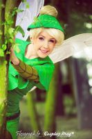 tinkerbell  behind a tree by clefchan