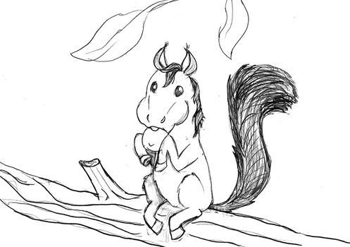 Horse Squirrel - Lineart by Sunnybrook1