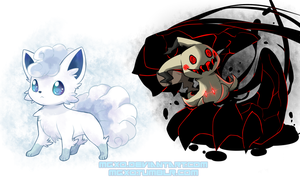 Vulpix(Ice) and Mimikyu