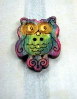 Funky Owl Button by Ideas-in-the-sky