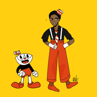 Cuphead as a human by united-drawer