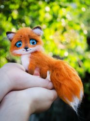 Baby Fox Needle Felted by Lyntoys