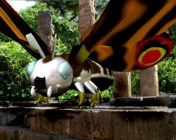 Mothra and Twins at shrine by Kyotita