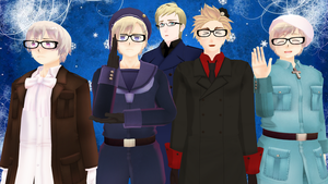 MMD Hetalia - The Nordics with glasses by PikaBlaze