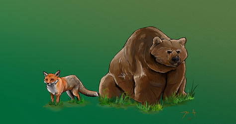 Day 303-Bear and Fox by Dan21Almeida95