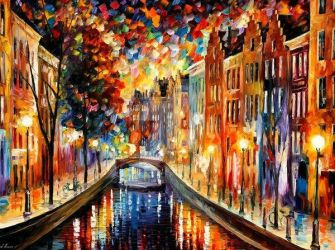 Amsterdam - Night Canal by Leonid Afremov by Leonidafremov
