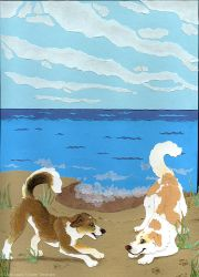 Beau n Arrow at the Beach by cricket00fur