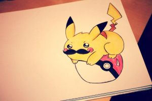 second moustache Pikachu with Pokeball by auriedessin