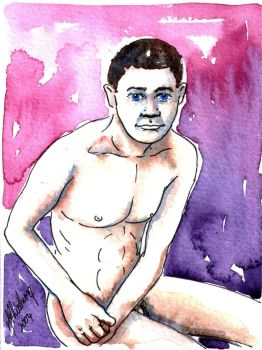 Male Nude. Purple + Blue. 3 by Pinkpasty