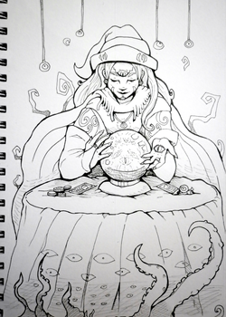 Inktober x 31 Witches Day 6 - Oracle Witch by SarahRichford