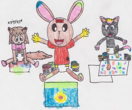Amy Finger Painting with Friends by DanielMania123
