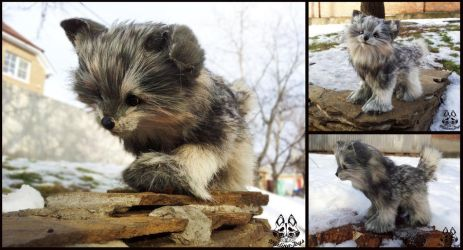 Hand made: Poseable wolf cub by MalinaToys
