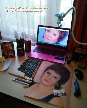 My workplace and one of portrait commissions by AnastasiyaKosenko