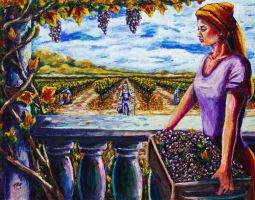 Harvest and the Vineyard's Daughter by Kevinrichardfineart