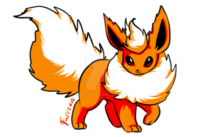 Flareon with Pokemon Yellow's colors by Furreon